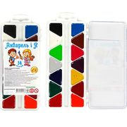 Акварельні фарби 14 кольорів, пластиков упаковка Акварелька - Карамелька Тетрада ТЕ82710