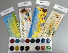 Акварельні фарби 16 кольорів, полібег упаковка Блістер Тетрада ТЕ305