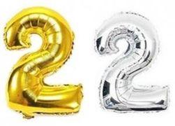 Куля фольгова 32(81 см) золото і срібло цифра 2