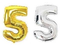 Куля фольгова 32(81 см) золото і срібло цифра 5