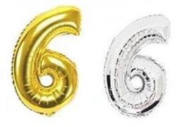 Куля фольгова 32(81 см) золото і срібло цифра 6