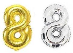 Куля фольгова 32(81 см) золото і срібло цифра 8