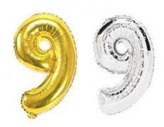 Куля фольгова 32(81 см) золото і срібло цифра 9