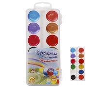 Акварельні фарби 12 кольорів, 4 перламутрових, пластиков упаковка Перлинка Тетрада ТЕ15052