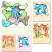 Зошит в лінію 18 аркушів кольорова обкладинка, дизайн: Об'ємна Тетрада ТЕ92282