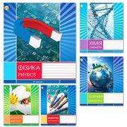 Зошит в клітинку 24 аркушів кольорова обкладинка, дизайн: Мікс 5К Предметні (Фізика, Математика, Біологія, Хімія, Географія) Тетрада ОФ-001128