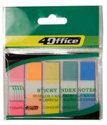 Стікери закладки офісні пластикові пастельні 5 кольорів 20 аркушів 45х12 мм 4office 4-427