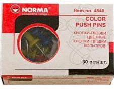 кнопки-цвяхи, 30шт., кольор. в ас-ті, 4840, NORMA 04110420 (10/500)