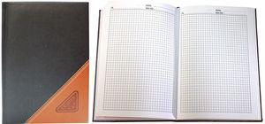 Блокнот А5, 148 аркушів, білий папір, клітинка, шкіряна обкладинка Leader 7/118470