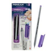 Ручка масляна Pensan Triball. Пишучий вузол - 1.0 мм.  Тригранна. Без змінного стрижня. Колір чорнила: фіолетовий 1003/С