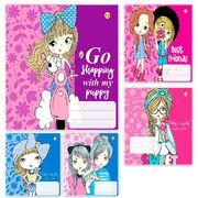 Зошит в лінію 18 аркушів кольорова обкладинка, дизайн: Girls Тетрада ТЕ02284