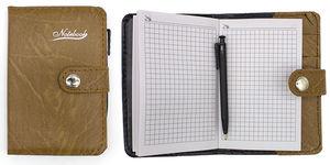 Блокнот А7 68 аркушів білий папір в клітинку прошивний шкіряна м'яка обкладинка на кнопці з ручкою Leader 118321