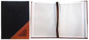 Блокнот А6 148 аркушів білий папір в клітинку прошивний шкіряна м'яка обкладинка Leader 118480