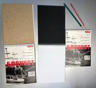 Блокнот А5 20 аркушів білий та чорний папір на спіралі картонна обкладинка Тетрада ТЕ462190