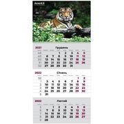 Календар настінний квартальний на 2022 рік, 63х29,7 см, на пружині Тигр 8801-02-A Axent