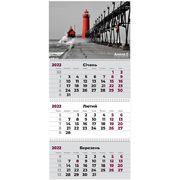 Календар настінний квартальний на 2022 рік, 63х29,7 см, 3 пружини Маяк 8803-01-A Axent