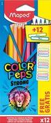 Олівці кольорові COLOR PEPS Classic, 12 кольорів + 12 наклейок MP.862725 (1/12/180)