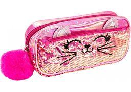 Пенал с паетками и помпоном на 2 отделения на молниях, розовый CF87090 (1)
