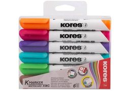 Набір маркерів для білих дошок KORES 2-3 мм, 6 кольорів в блістері K20802 (1)
