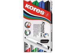 Набір маркерів для білих дошок KORES 1-3 мм, 4 кольори в блістері K20843 (1)