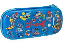 Пенал на 1 отделение, на молнии, с органайзером QT-5772-Blue Cool for School