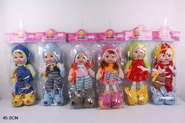 Кукла мягкотелая, 6 видов, 6 звуков, мелодия на ручке, светятся щечки, причмокивает от ложечки