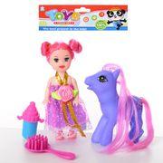 Лошадка LP, 8 см, кукла 10 см, расческа, бутылочка, в кульке 13-15-2 см