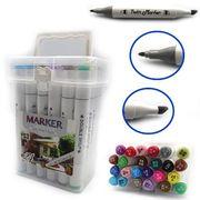 Набір скетч маркерів 24 кольори ,тригранний корпус, спиртова основа,  двосторонні в пластиковій валізі  M&S Josef Otten 0228-24 (1/30)