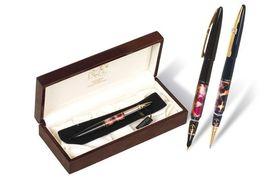 Ручка капілярна металева чорна 0.7 мм корпус чорного кольору в дерев'яному футлярі Picasso 988