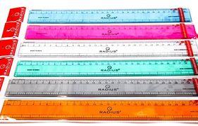Лінійка 30 см пластикова прозора кольорова Radius Scale
