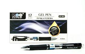 Ручка гелева автоматична чорна 0.5 мм з гумовим тримачем Neo line GP- 963