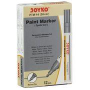 Маркер лаковий ТМ Joyko PTM-44, для перманентного промислового маркування на усіх матеріалах і для оздоблювальних робіт, колір чорнила: срібло, круглий пишучий вузол,