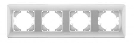 VIDEX BINERA Рамка серебряный шёлк 4 поста горизонтальная (VF-BNFR4H-SS) (12/72)